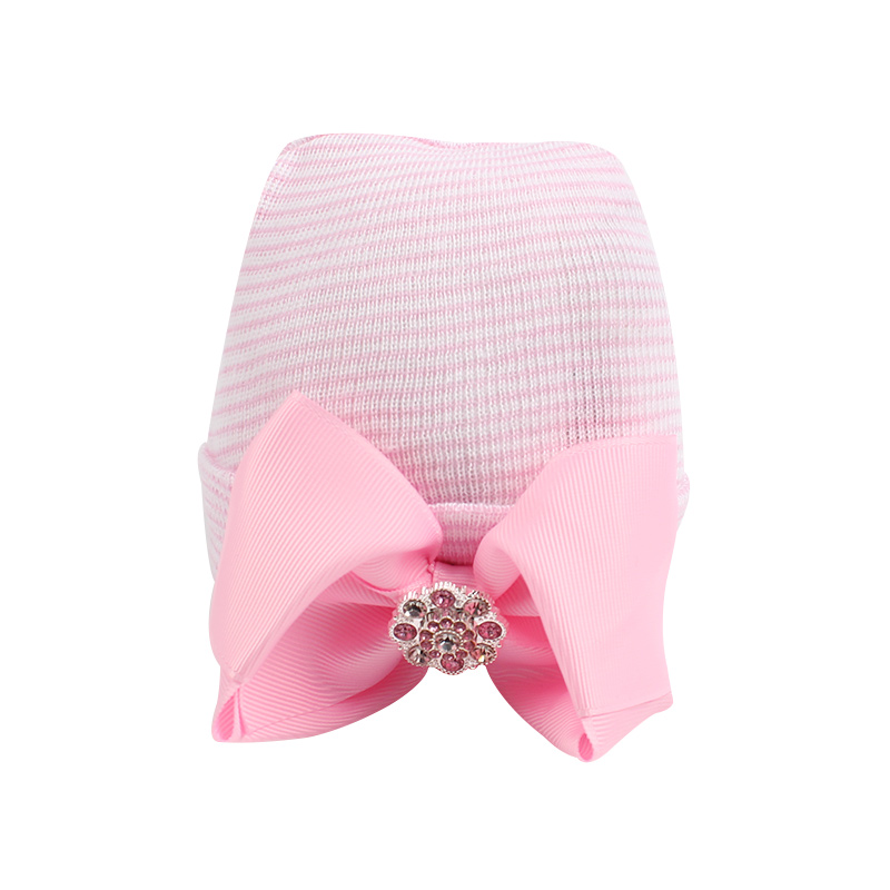 Cute Bow Girls Hat Cotton Pink Baby Girl Caps Striped Tire Cap With Rhinestones Newborn Girl Beanies Spring Autumn Accessories