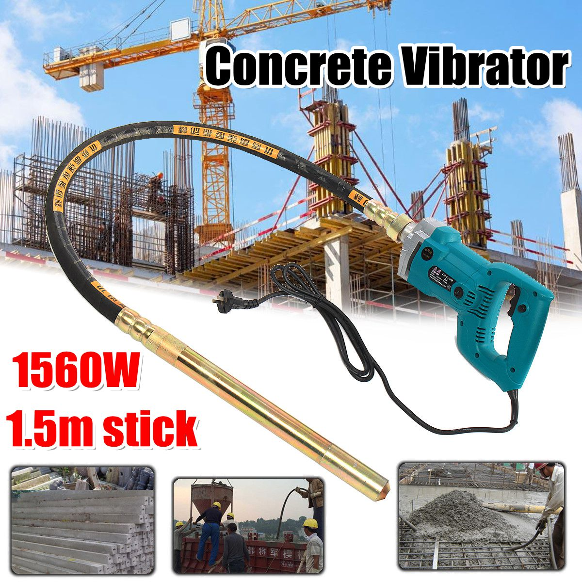 800W/1200W/1560W Concrete Vibrators Electric Cement Soil Mixer With Stick 3/4 HP- Heavy   Remove Air Bubbles & Level 5000 VPM