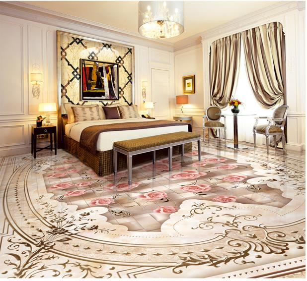 Europea 3d Flooring Mosaic Relief Vinyl Floor Tiles Non Slip Wear