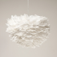 Umeiluce Free Shipping Led Modern Pendant 3 Lights White Feather Dia50cm Cord Suspension Lamp for Dinning Room