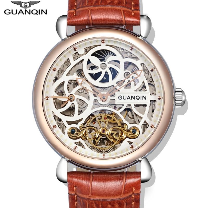 Часы со скелетом GUANQIN, модные мужские часы с большим циферблатом, 10 бар, автоматические часы для плавания, фаза Луны, светящиеся турбийон, механические часы - 6