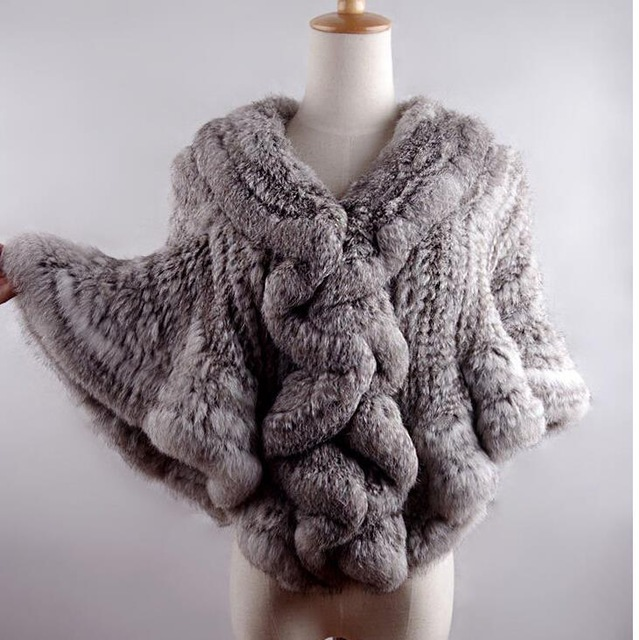 Womens Genuine Rabbit Fur Shawl Winter Lady's Casual Stoles Wrap Wholesale Natural Fur Shawls DL6205
