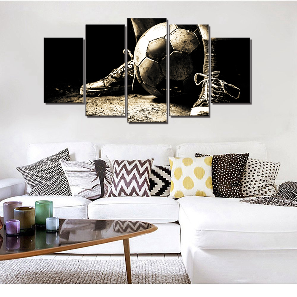 Retro Sport Picture Soccer Wall Art Canvas Print Painting For Living
