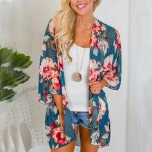 aca5ee1af3ed Camisa de las mujeres Boho Kimono chaqueta de impresión Floral Vintage  blusa suelta chal capa de