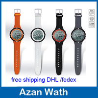 wholesale 10pcs/lot sports azan watch Islamic Watch with Qibla Prayer Compass 6506 best islamic gifts free shipping dhl fedex