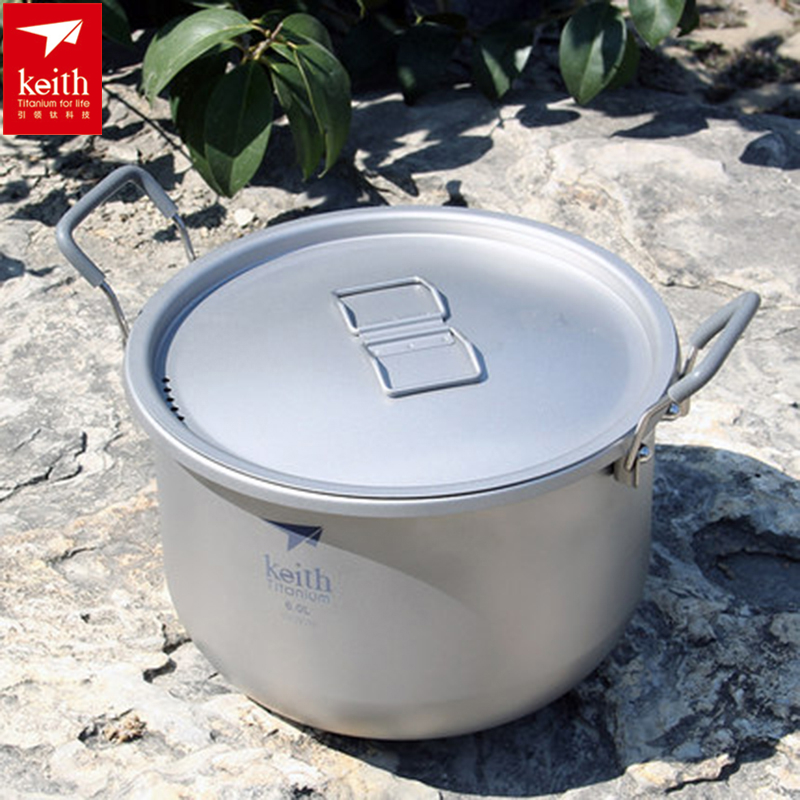 Keith Titanium Pot Stockpot 6L For Outdoor Camping Hiking Traving Hunting Picnic Cookware 870g Ti8301 Christmas Gift w Bag