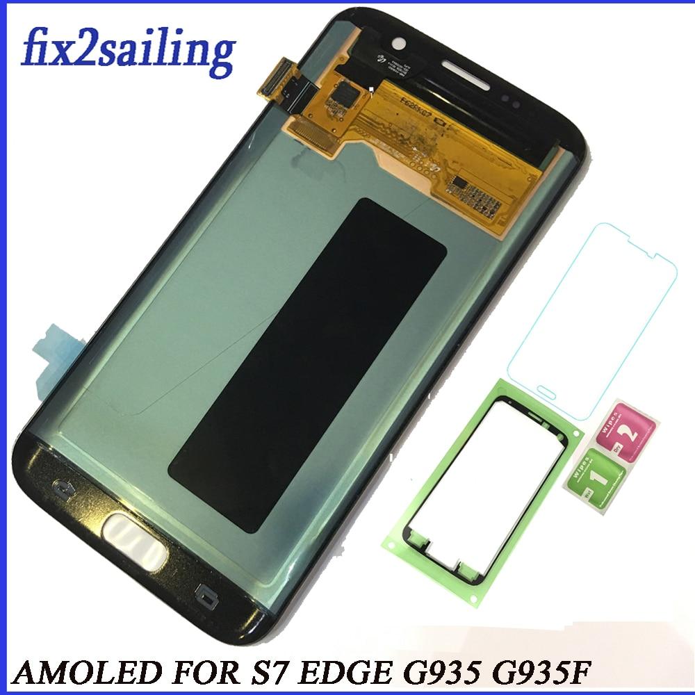 Super AMOLED écran lcd Pour Samsung Galaxy S7 Bord affichage lcd G935F G935A G935FD G935P Écran Remplacement Digitizer Assemblée