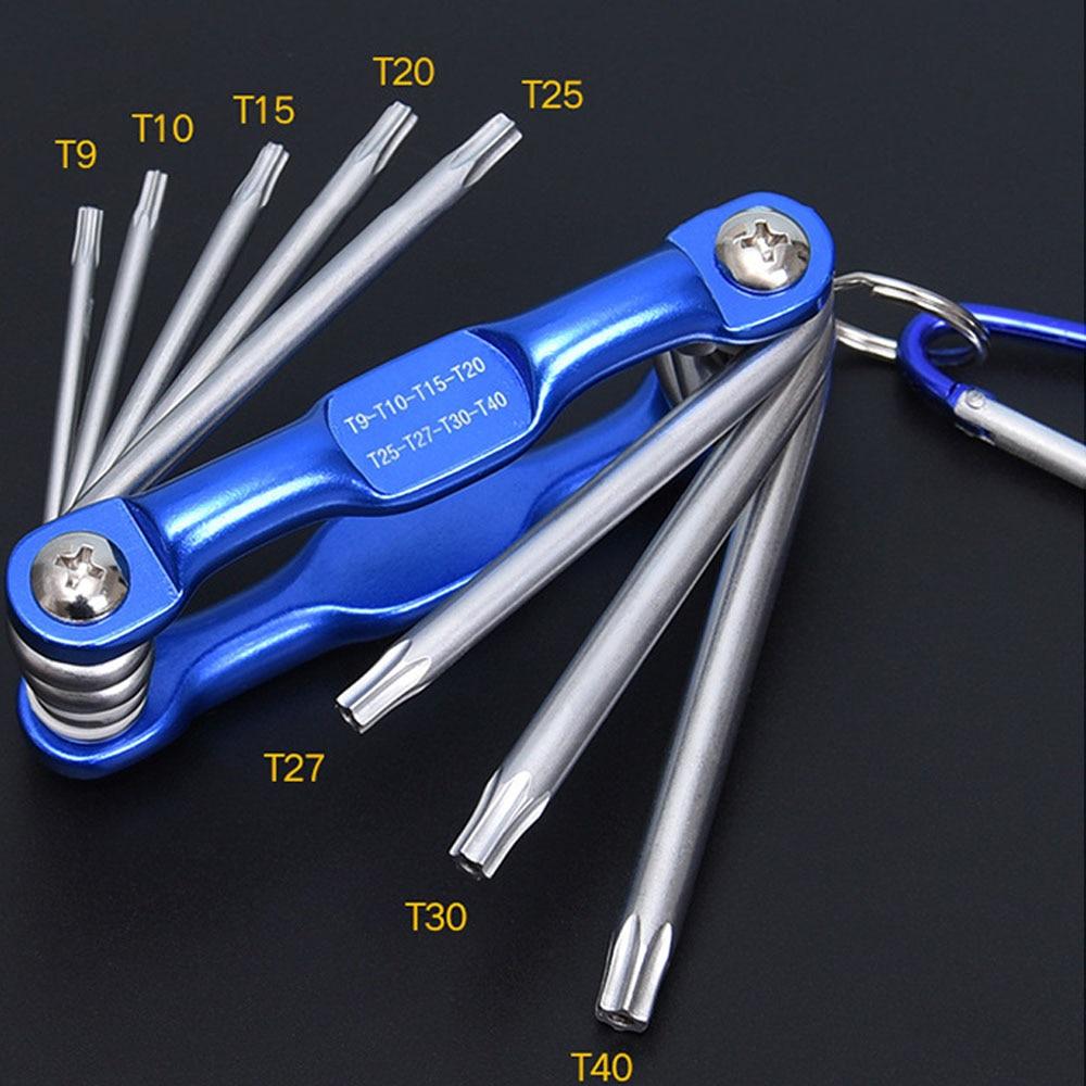 8 In1 Folded Hexagon Hex Key Wrench Set Inch Allen Wrench Hexagonal Screwdriver Metric Plum Inside The Hexagonal Hand Tools