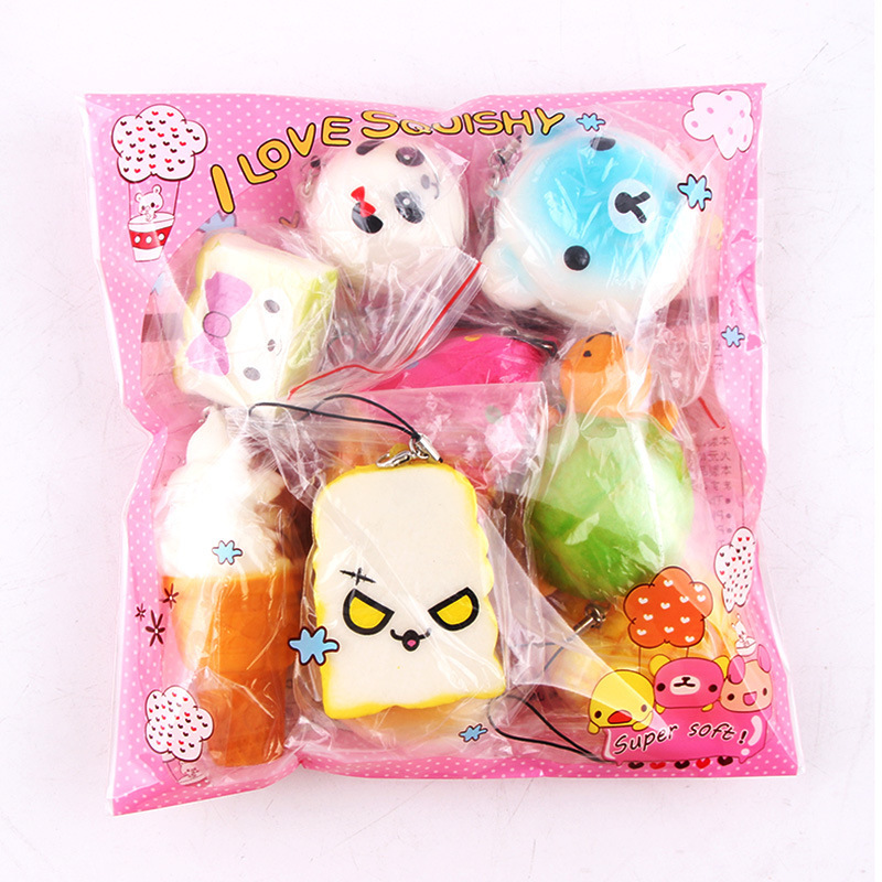 Squishy Slow Rising 10 Pcs/Pack Food Squishes Pendant Donut Charm Anti stress Kawaii Squishies Stretchy Squeeze Toy