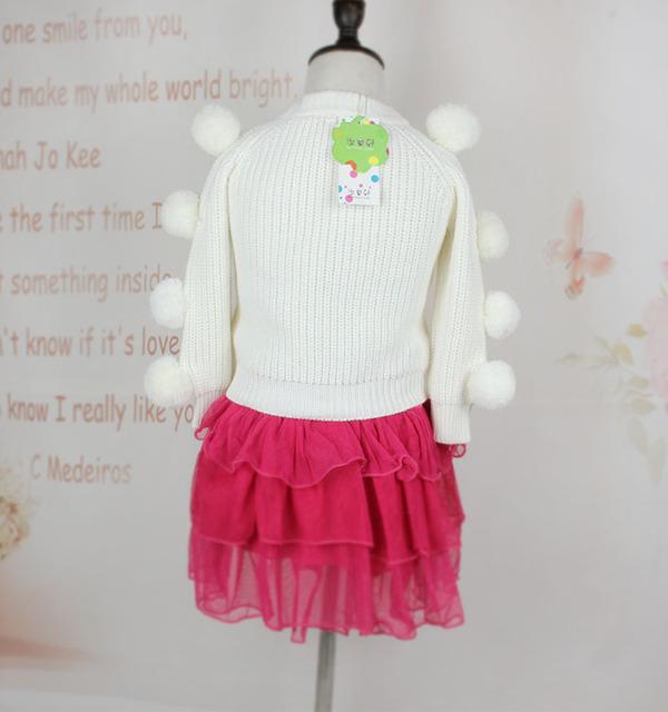 Crianças Meninas Brancas Cardigans Minúsculo Chirstmas Camisola Do Bebê Do Algodão Para Meninos e Meninas das Crianças Quentes Roupas de Malha com Bola Top