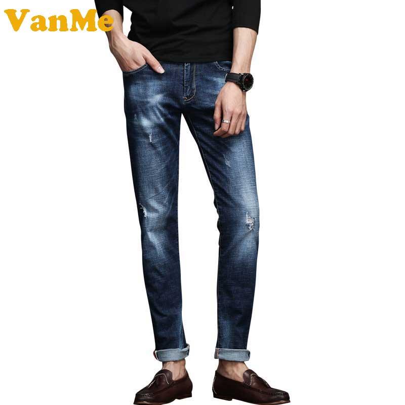 ФОТО 2017 Spring Slim Fit Men's with Holes Denim Pants Jeans Dark Blue Cool Pencil Jeans