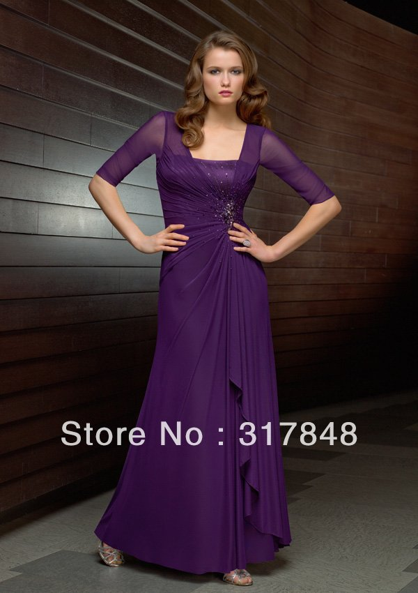 Stunning free shipping elegant designer purple v neck half sleeves ...