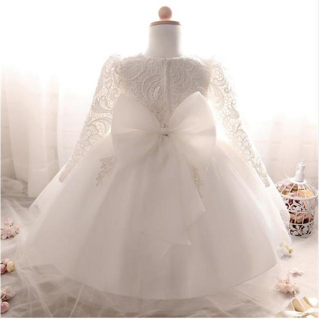 212585f82 Vestido de invierno para niña de manga larga blanco vestidos de bautismo  bebé niña 1 año