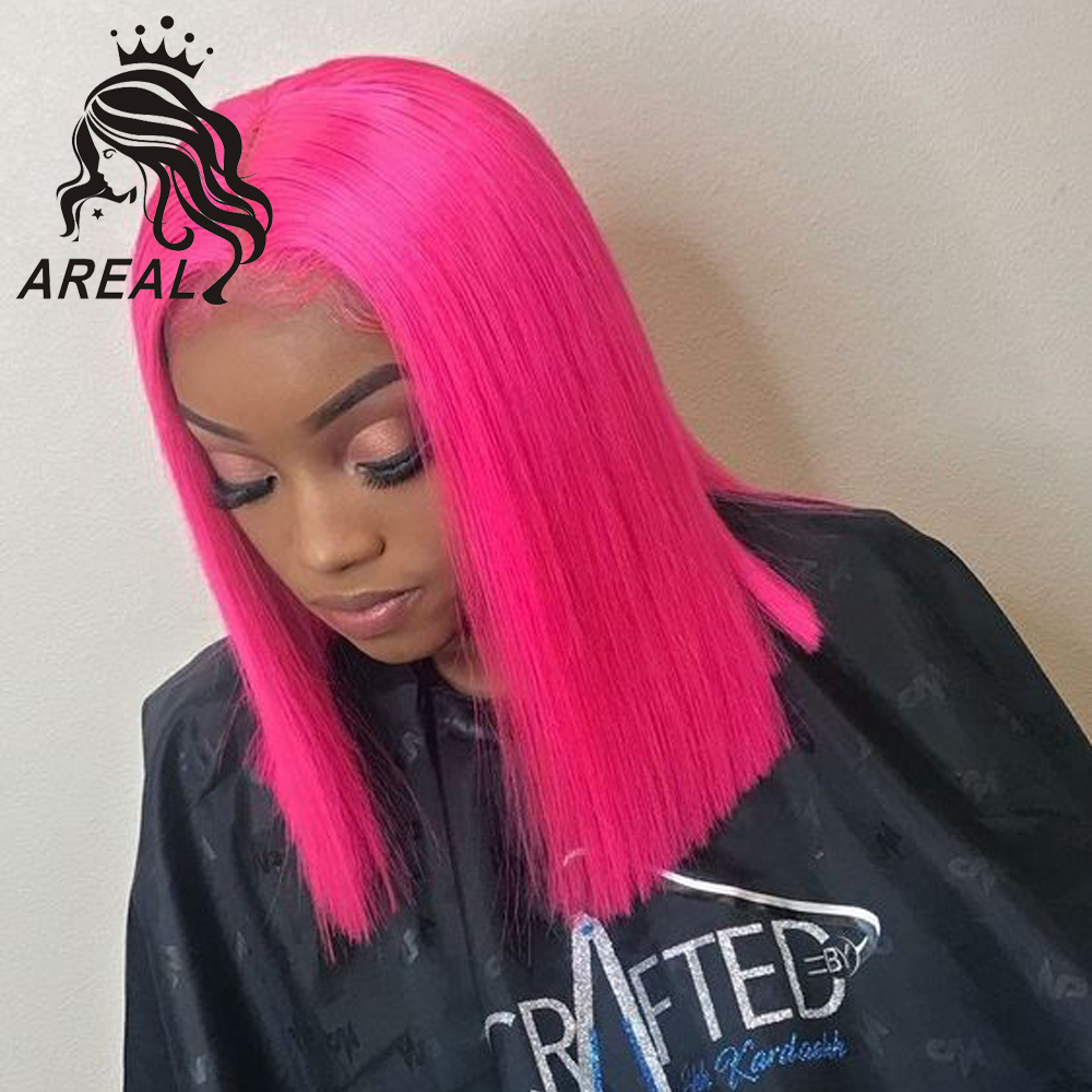 Pink Colored Full Lace Human Hair Wigs For Black Women