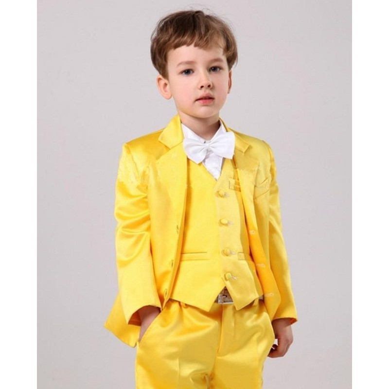 Yellow 3 Pieces Set Boys Suits for Wedding Prom Boy Suits Formal Wedding Boys Clothes Kid Children's Blazers (Jacket+Pants+Vest)