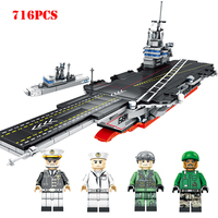 Military US Nimitz Class Aircraft Warship Building Blocks Navy Figures Compatible Legoe World War Army Weapon Bricks Child Toys