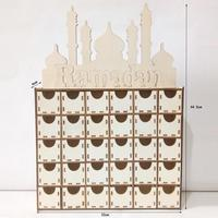 Ramadan Wooden Eid Mubarak Decoration For Home Islam Mosque Muslim Wooden Countdown Decoration Pendant Festival Party Supplies