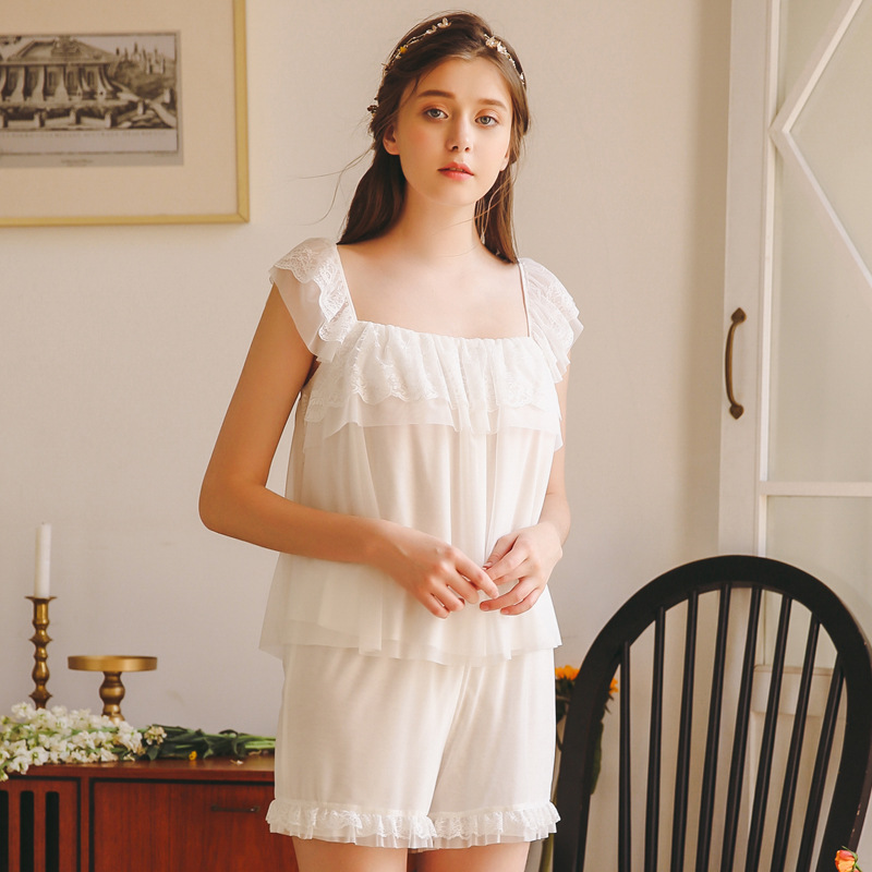 Princess Court Nightgown Girl Short Sleeves Sexy Lingerie Solid Spaghetti Strap Lace Sweet Lotus Leaf Pijama Womens Pajama Set