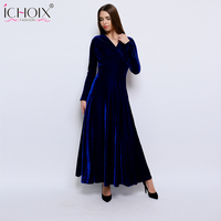 solid elegant plus size dress Long Sleeve Velvet winter dresses women 2019 autumn V neck sexy Dresses vintage Party vestidos