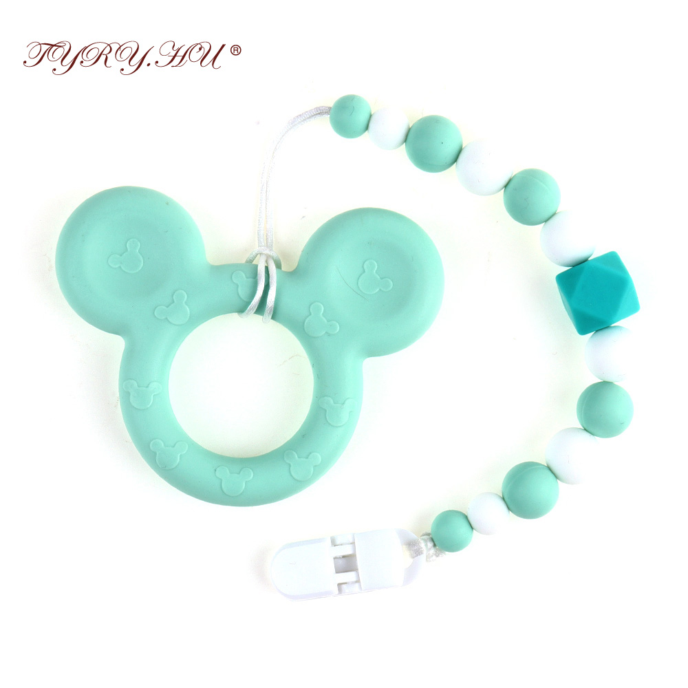 Mouse Shape Teethers Chain Silicone Teething Beads Baby Teether With Pacifier Holder Lovely Teething Toys For Newborn Gift