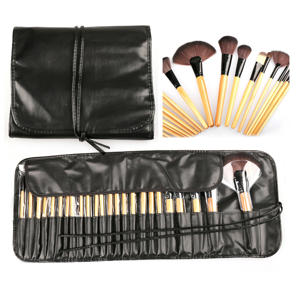 24pcs Makeup Brushes Cosmetic Powder Eyeshadow Eyeliner Lip Brushes Set kits with Black Holder Bag Best Deal! maped набор математический essentials 8 предметов с циркулем