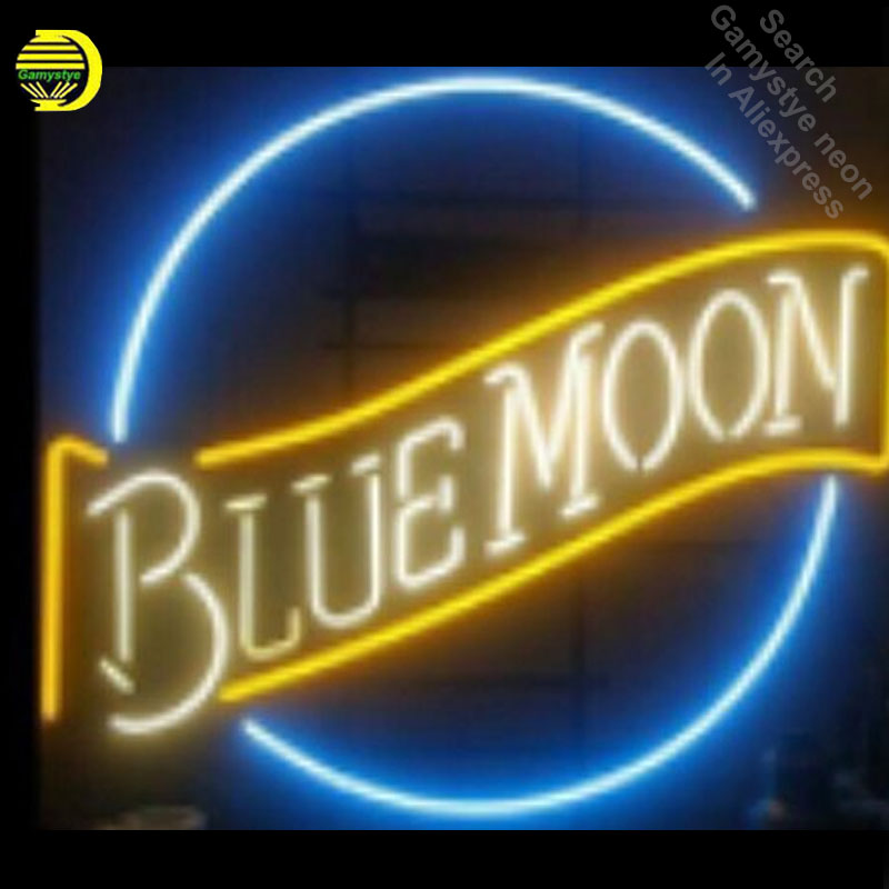 17x14 Blue Moon Neon Sign Handmade Real Glass Tube Quality Guarantee Handcraft neon lights vintage Lamps neon open sign bar17x14 Blue Moon Neon Sign Handmade Real Glass Tube Quality Guarantee Handcraft neon lights vintage Lamps neon open sign bar