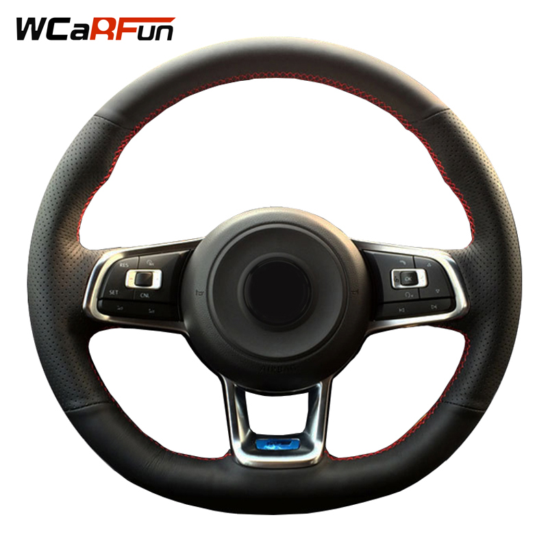 WCaRFun Black Artificial Leather Car Steering Wheel Cover for Volkswagen Golf R Golf 7 GTI MK7 VW Polo GTI Scirocco 2015 2016