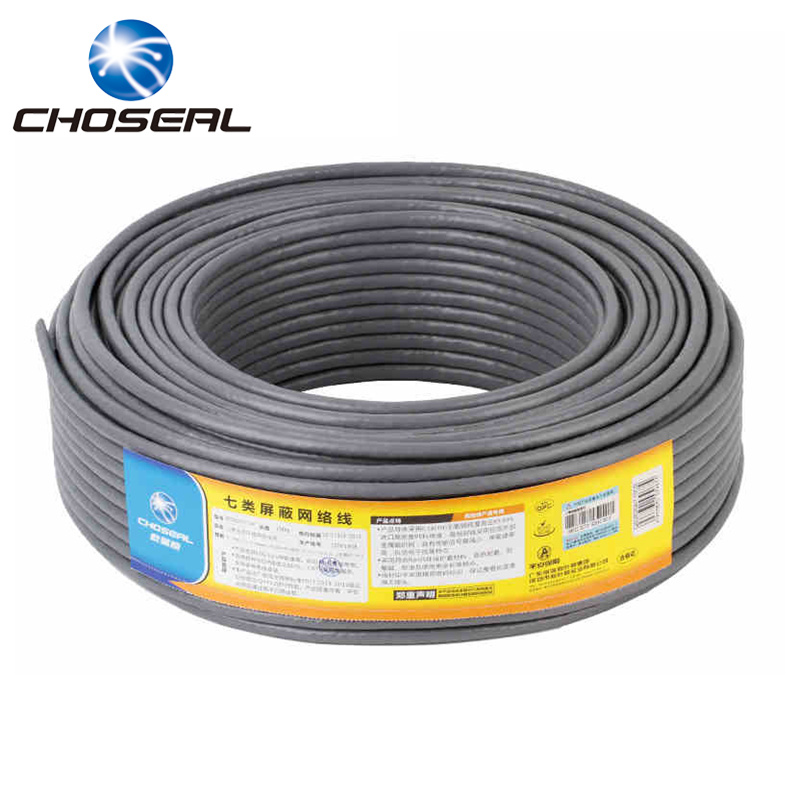 Choseal Cat7 Network Cable 10 Gigabit Double Shielding Ethernet Lan Twisted-pair Engineering Wire Cable 50m 100m 305m 100m cat5 5e 8 pin intertek high speed lan network cable utp copper core wire twisted pair ethernet cables internet cable for pc