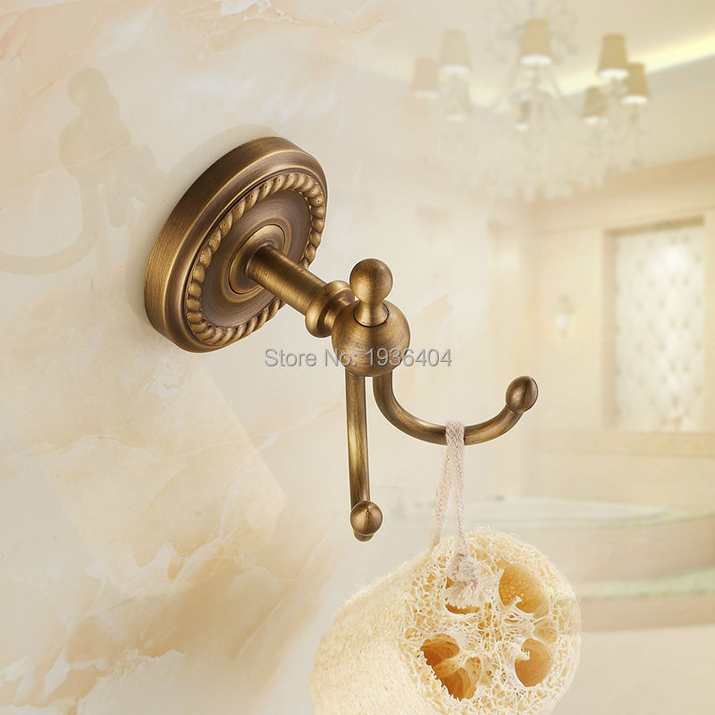 Buy Hot Sell Cloth Hooks Wall Mounted Antique Brass Bathroom Accessories Robe