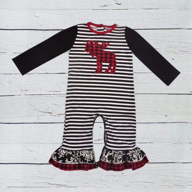 085c21c05fd9 Hot Sale Christmas Persnickety New Fashion Baby Romper Baby Deer Embroidery  Multiple layers Ruffle Clothes Kid Rompers
