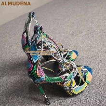 ALMUDENA Factory Real Photo Multi-Snakeskin High Heel Sandals Thin Heels Lace-up Cross Tied Dress Shoes Gladiator Python Pumps
