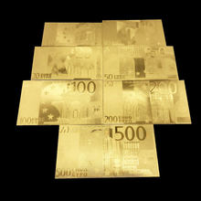 1pcs Golden Euro Banknote Sets 5 10 20 50 100 200 500 EUR Gold Banknotes 24K Gold foil commemorative coin home decro(China)