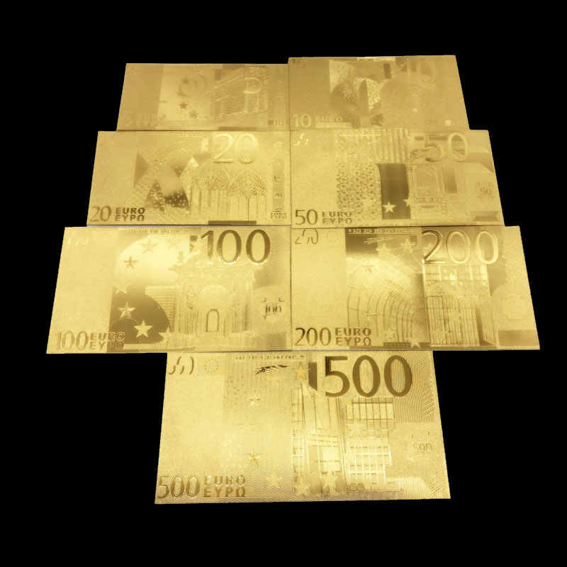 1pcs Golden Euro Banknote Sets 5 10 20 50 100 200 500 EUR Gold Banknotes 24K Gold foil commemorative coin home decro