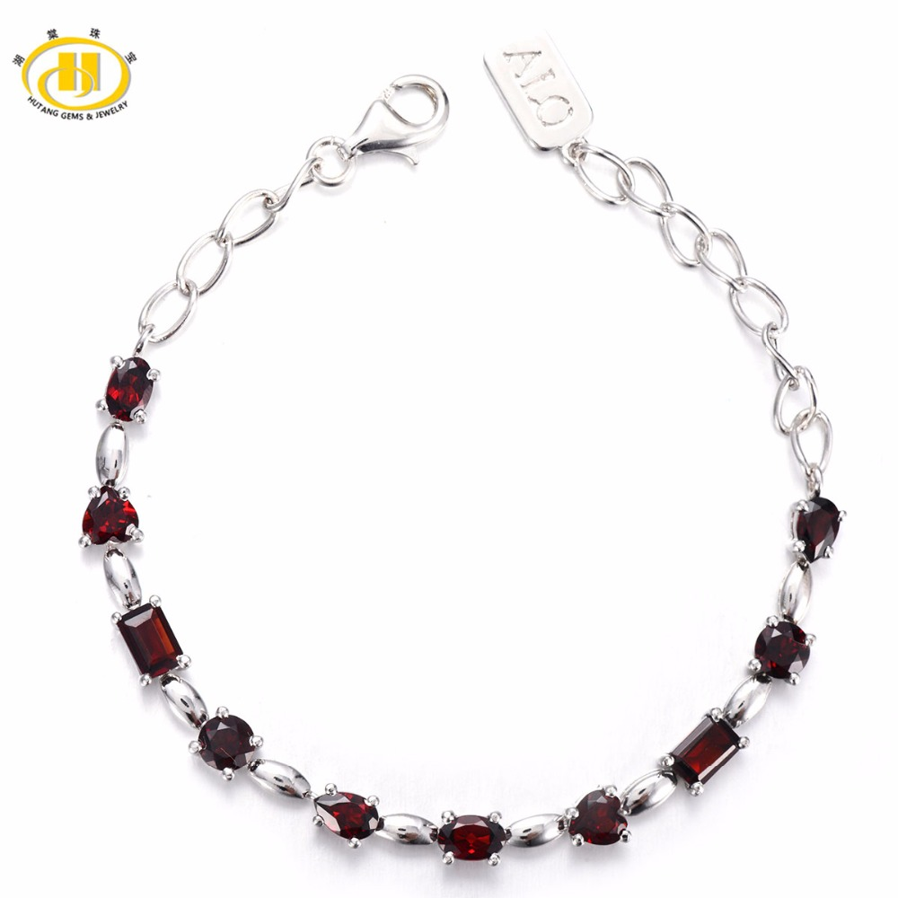 Hutang 5.78 ct Natural Gemstone Garnet Solid 925 Sterling Silver Link Bracelet Fine Stone Jewelry For Women's Gift 7.5 Inches