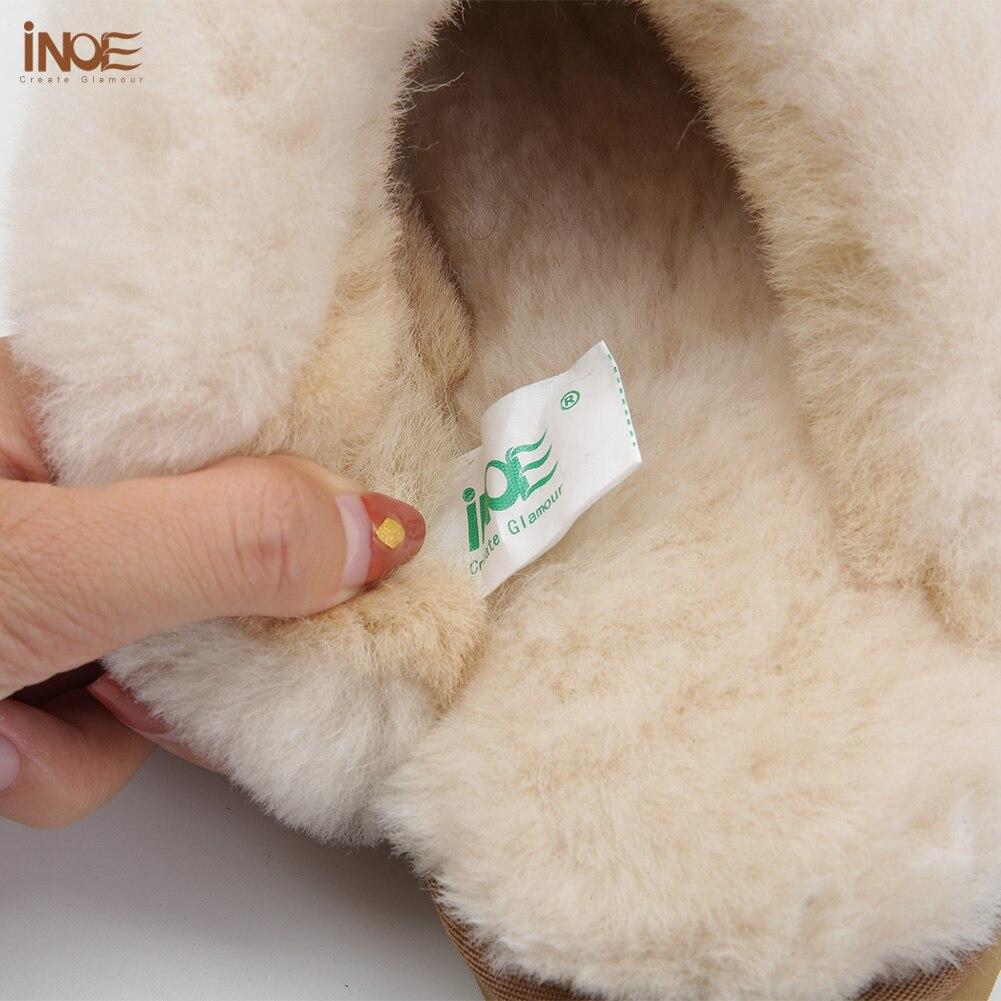 INOE en peau de mouton en cuir doublé de fourrure femmes maison chaussures pantoufles d'hiver en suède intérieur maison chaussures pour femme demi pantoufles de haute qualité - 4