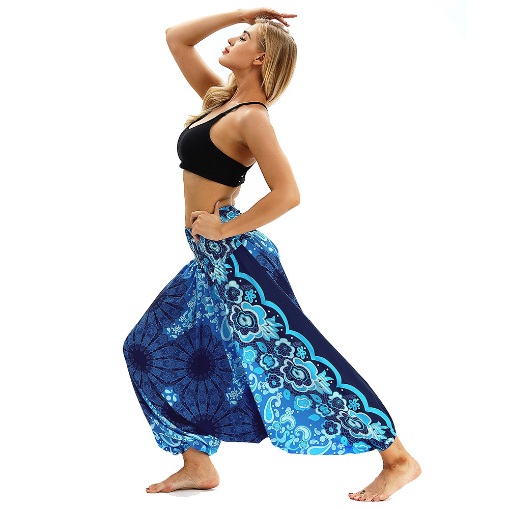 Women Men Pants Casual Woman High Waist Wide Leg Harem Trousers Baggy Boho Loose Aladdin Festival Hippy Jumpsuit Print Lady pant 37