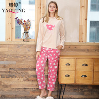 Female coral fleece pajama set long sleeve round neck winter flannel long pants lounge set