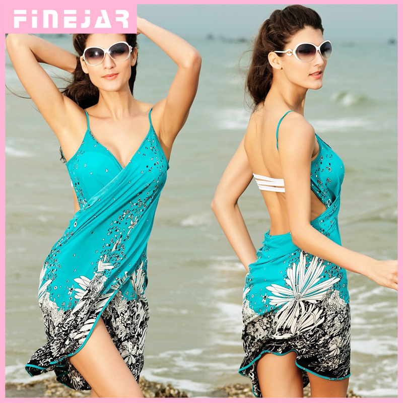 Saida De Praia Women Summer Beach Dress Beach Cover Up Bikini Wrap Negril Floral Print Crossed Beachwear Sarong Pareo FJ41714 H2