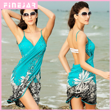 Saida de praia women summer Beach Dress Beach Cover Up Bikini Wrap Negril floral Print crossed