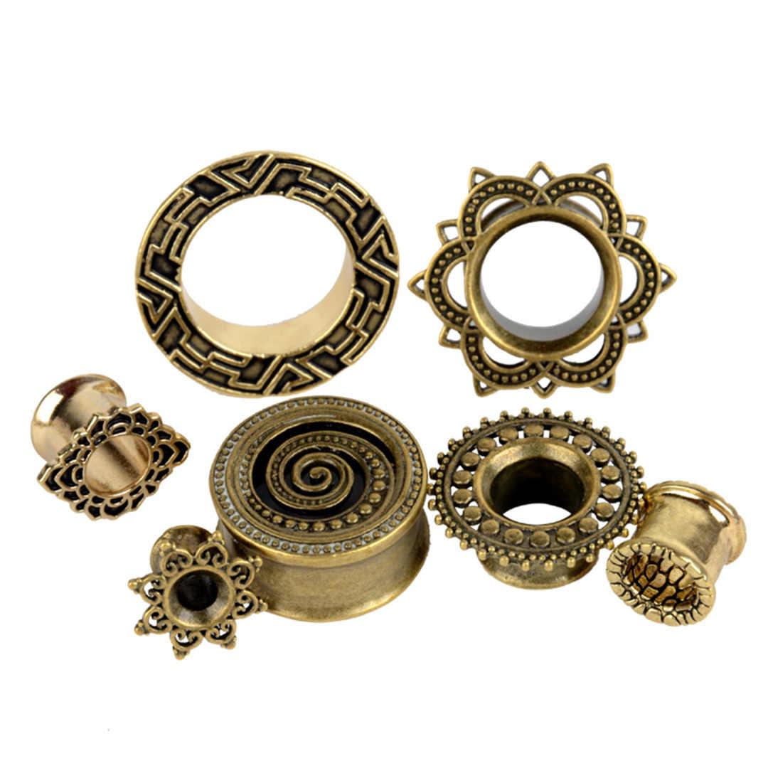 1 Pasang Vintage Kuningan Antik Telinga Daging Terowongan Shellhard Hollow Bunga Double Suar Telinga Plug Gauge Piercing Tubuh Perhiasan