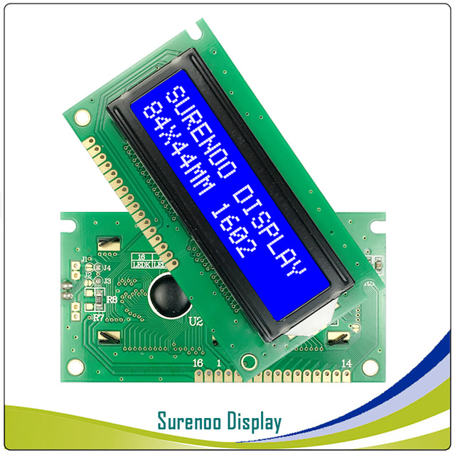 US $1 98 |PCB Size: 84*44MM 162 1602 16X2 Character Blue LCD Module Display  Screen LCM Bulid in SPLC780D wth Backlight-in LCD Modules from Electronic