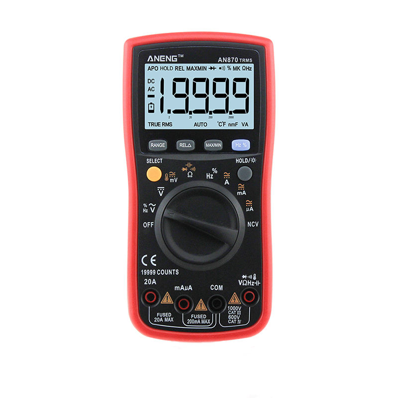 AN870 Auto-ranging Digital Multimeter High Precision True-RMS 19999 COUNTS NCV Ohmmeter AC/DC Voltage Ammeter Transistor Tester