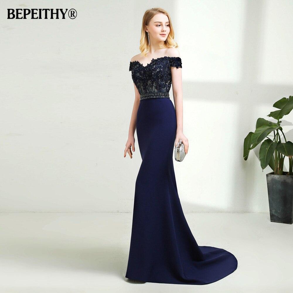 New Arrival 2020 Mermaid Long Evening Dress Crystal Belt Vestido De Festa Short Train Lace Off Shoulder Prom Dresses