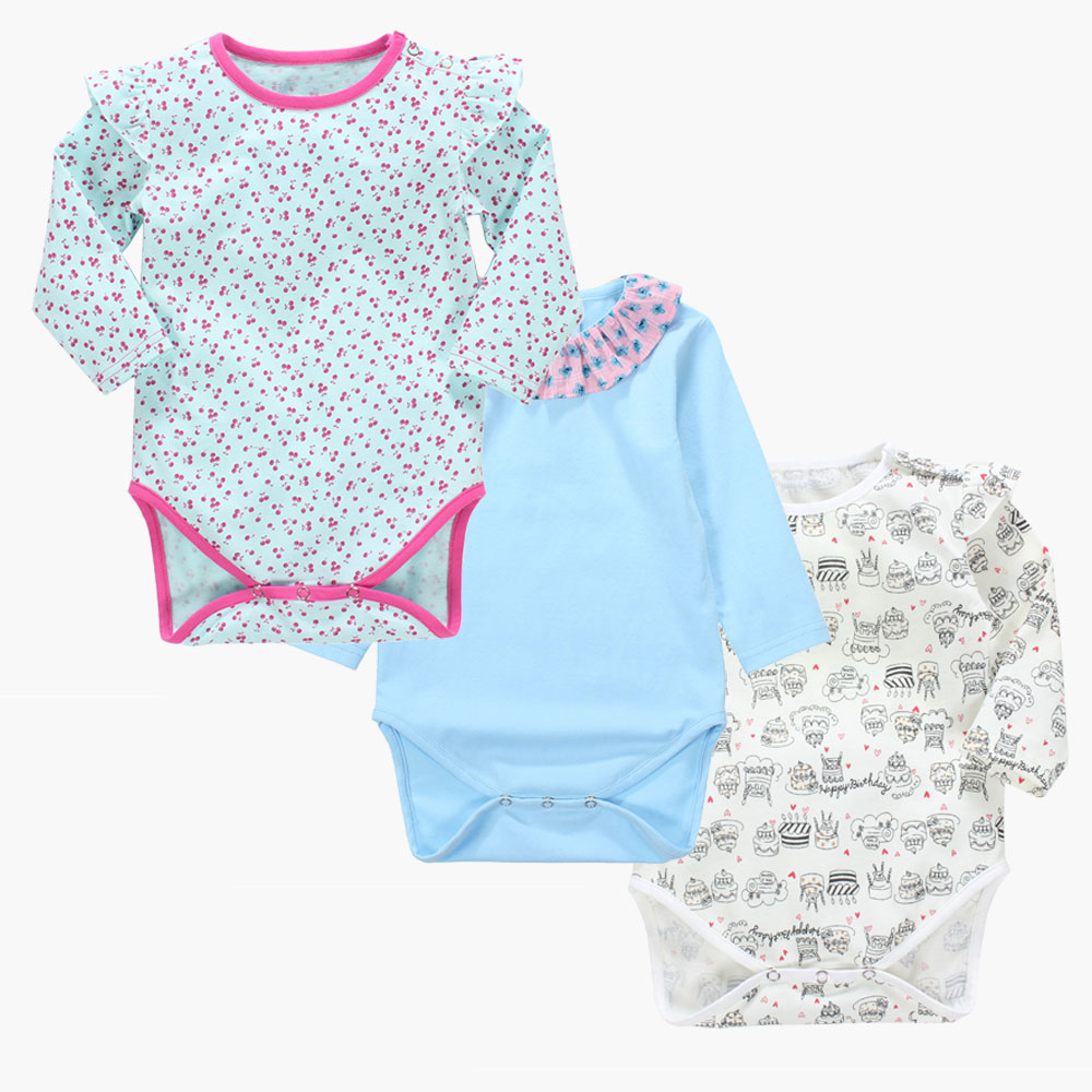Touchcare 3Pcs/Set Long Flying Sleeve Triangular Baby Rompers  Infant Overalls Jumpsuit Slef-Design Newborn Baby Boy Girl Romper newborn baby rompers baby clothing 100% cotton infant jumpsuit ropa bebe long sleeve girl boys rompers costumes baby romper