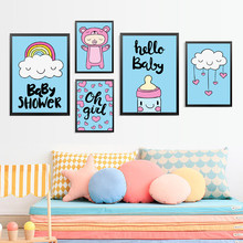 Hello Baby Posters And Prints Wall Art Canvas Painting, Infant Pictures For Room HD2370