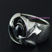 Starlight stone ring surface 925 pure silver devil thai silver ring