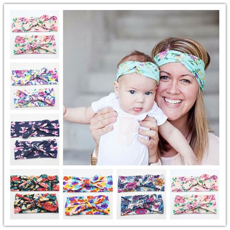 Naturalwell Mommy and Me համապատասխանող Turban Headband Set Fashion Boho Floral Topknot Head Wrap for Mom and դստեր Նվերներ HB010