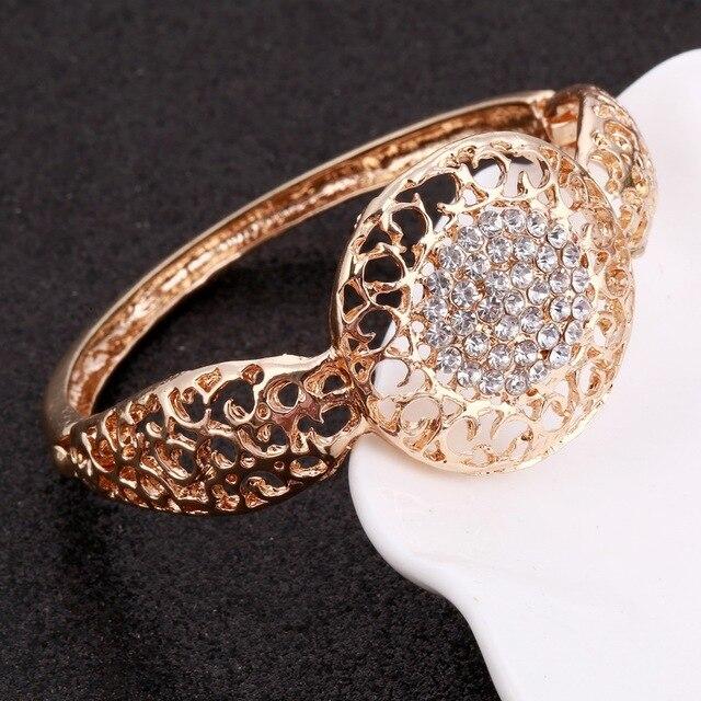 MINHIN Women Delicate Gold Bridal Jewelry Sets Rhinestone Pendant Collar Bracelet Crystal Earrings Rings Wedding Accessories 5
