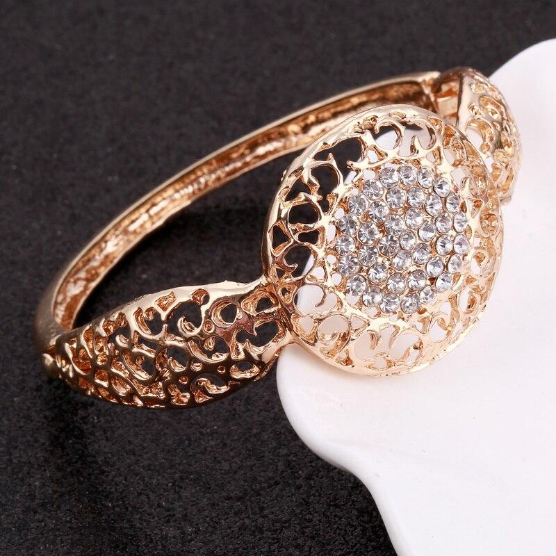 Minhin Women Delicate Gold Bridal Jewelry Sets Rhinestone Pendant Collar Bracelet Crystal Earrings Rings Wedding Accessories #5