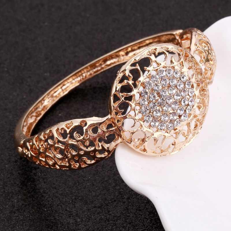 MINHIN Women Gold Bridal ชุดเครื่องประดับ Rhinestone จี้คอสร้อยข้อมือต่างหูคริสตัลแหวนอุปกรณ์เสริม